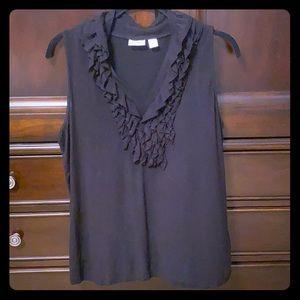 CATO Large ruffle sleeveless tee black vneck top